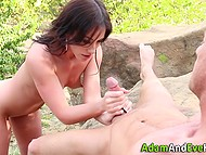 Smart brunette shows her friend that she has gold hands in very unusual way