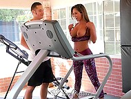 In the gym fitness coach helps MILF with juicy tits to lose weight in a more effective way