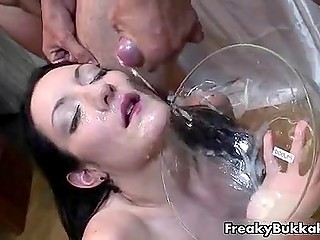 Raunchy Spanish whore tries to catch breath while loads of cum are covering her face