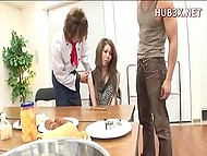 Japanese gives blowjob in the first scene and cook along with swain help her to handle itching pussy in the second one 6