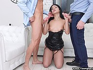 Gallant males invited finger-licking callgirl in sexy lingerie and enjoyed threesome sex 4