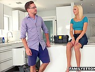 Eccentric couple without any fears has a passionate fucking right in the presence of plumber 4