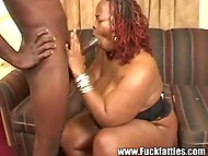 Fat black woman was very excited and her juicy vagina missed heavy fuckstick 5