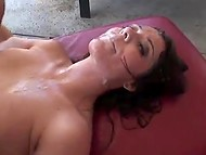 Many cocks entered slut's holes and her face was covered with cum in a short time 11