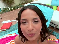 Man gave rimming before entering back door of black-haired Anissa Kate outdoors 10
