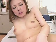 Japanese prossie was called to pleasure two office workers who needed a break urgently 11
