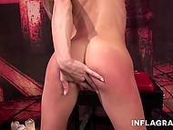 Skinny nymphomaniac pinched her nipples and showed fisting skills in HD porn movie 6