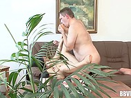 Camera manages to record how haired man fucks Asian MILF even through indoor plant 10