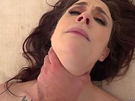 Passionate brunette rides French boyfriend's fat dick with pussy and with tiny butthole 10