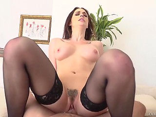 Passionate brunette rides French boyfriend's fat dick with pussy and with tiny butthole