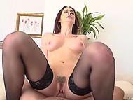Passionate brunette rides French boyfriend's fat dick with pussy and with tiny butthole 6