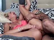Dude couldn't stop after deepthroating slim babe so shoved loaded weapon in her tiny butthole 4