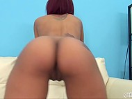 Petite black beauty grabbed vibrator and tried to calm the lust down alone 5