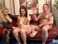Old baroness from Germany and friend were having lesbian fun while man was jerking off 4