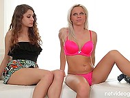 White-haired girl in pink lingerie came to the audition with girlfriend who agreed to give agent a head 4