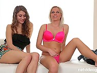 White-haired girl in pink lingerie came to the audition with girlfriend who agreed to give agent a head 7