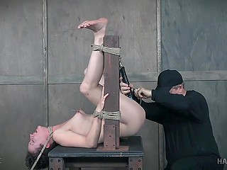 Poor woman came into hands of sexual pervert who tied her up and made fiercely cum