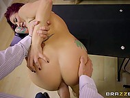 Purple-haired MILF with tattooed hand didn't let husband work until he fucked her on the table 10