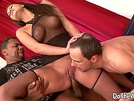 Black man came inside ass of damsel in fishnet outfit and she squeezed all jizz on cuckold's face