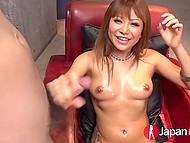 Cute Japanese girl has fun with soap bubbles and vibrator before gives BJ to three guys 9