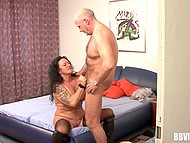 Old biker picked up mature prostitute and brought her to his apartment to have some fun 10
