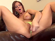 Stunning MILF with big boobs was boring alone, satisfying her taught pussy with a pink toy 8