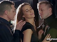 Gentlemen in black costumes have a special night party with two gorgeous babes 3