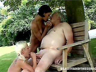 Two young girls caught salacious old man's fancy and he desired to fuck them both on the lawn
