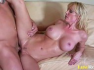 Pumped macho did everything possible to made big-boobied woman satisfied during hard fuck 10