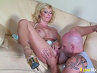 Pumped macho did everything possible to made big-boobied woman satisfied during hard fuck 3