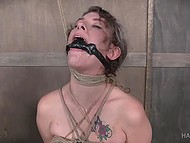 Curly-haired slave with giant breasts remains powerless after BDSM session of perverted male 5