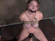 Curly-haired slave with giant breasts remains powerless after BDSM session of perverted male 6