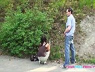 Having just made an acquaintance, guy persuades sexy stranger for an outdoor fucking 11