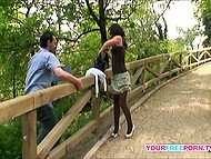 Having just made an acquaintance, guy persuades sexy stranger for an outdoor fucking 6