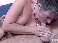 Mature women are unstoppable when it comes to empty haired comrade's balls in threesome 4