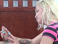 White-headed babe Alex Little knows a way to make guy cum using hands only 4