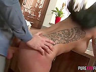 Boy pleased seductive housewife not only with great sex but with fresh semen on huge boobies also 8