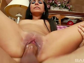 Man abundantly covered shaved pussy of charming beauty with cum after the wild sex