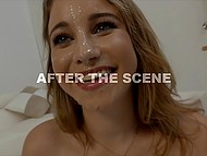 Cute blonde teen demonstrates on camera how brilliant she does a good handjob 11