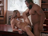 Bearded black man gave great cunnilingus then fucked Sara Luvv on the office table