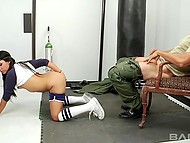 Cheerful babe Danica Dillan preferred coach's penis to boring workout in the gym 11