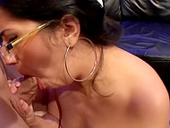 Nerdy brunette came to casting and was asked to demonstrate her blowjob skills 8