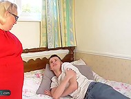 Skinny youngster made his best to satisfy big-bootied granny in black lingerie 3