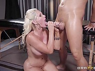 Masseur oiled delicious body of busty visitor then took a good care of her asshole 11