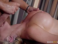 Masseur oiled delicious body of busty visitor then took a good care of her asshole 3