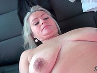On the back seat of his cab, guy is having fun with the blonde MILF with natural tits 7