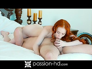 Petite red-haired chick gets excited during morning warm-up and seduces her boyfriend
