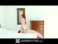 Petite red-haired chick gets excited during morning warm-up and seduces her boyfriend 7