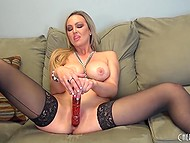 Sexy blonde Abbey Brooks in black stockings masturbates her pussy with a toy