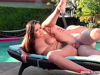 Cute face of busty brunette receives nice cumshot after hot fucking by the poolside